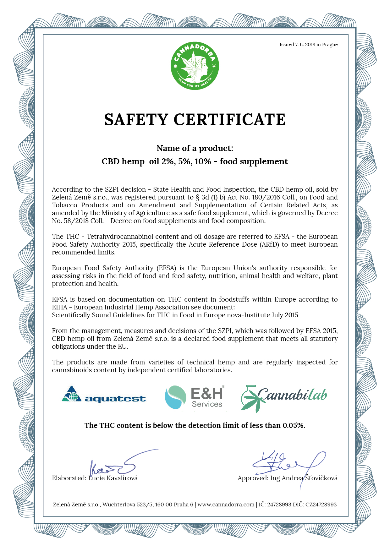 Safety Certificate Cbd Oils Cannadorra